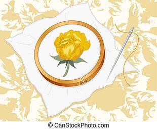 zlatý, damaškový, růže, výšivka
