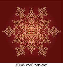 zlatý, detailní, sněhová vločka, dále, červené šaty grafické pozadí