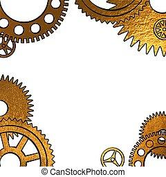 zlatý, kovový, konstrukce, o, hodiny, sloučit