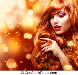 zlatý, móda, děvče, portrait., zvlněný, červené šaty vlas