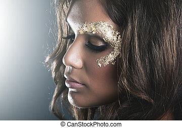 zlatý, makeup, ponurý, ateliér, kožešina, portrét