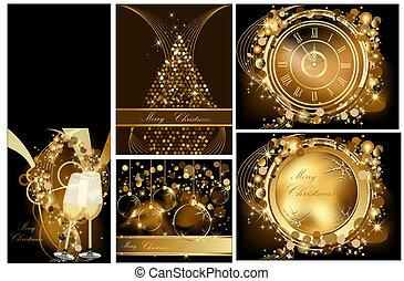 zlatý, merry christmas, grafické pozadí