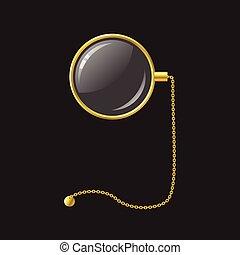 zlatý, monokl, s, řetěz, -, moderní, vektor, realistický,...
