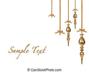 zlatý, oběšení, vánoce okrasa, beautifully