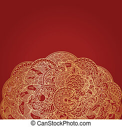 zlatý, okrasa, drak, asijský, grafické pozadí, červeň