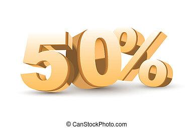 zlatý, procent, -, 50, vybírání, rabat, lesklý, 3