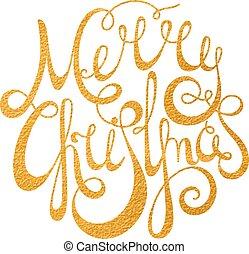 zlatý, rukopisný, nadpis, veselý, vánoce.