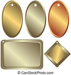 zlatý, stříbrný, a, bronzovat, kostka, (vector)