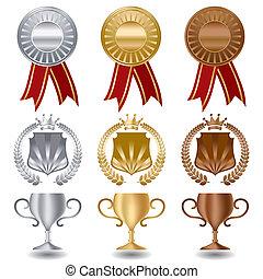 zlatý, stříbrný, a, bronzovat, medailé