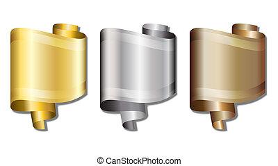 zlatý, stříbrný, bronzovat, standarta