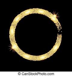 zlatý, třpytit se, kruh, banner., vektor, ilustrace