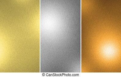 zlatý, tkanivo, bronzovat, stříbrný