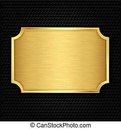 zlatý, tkanivo, deska, vektor, illustra