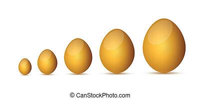zlatý, vejce, design, ilustrace