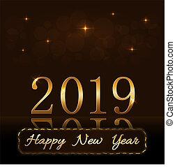 zlatý, zlatý, dovolená, design, lehký, rok, texture., card., grafické pozadí., 2019, přepych, glitter., čerstvý, vánoce, šťastný, jiskra, znak, ilustrace, celebration., planout, chvějící se, vektor, číslice