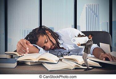 zmęczony, dyrektor, wymagania, kofeina