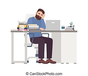zmęczony, wyczerpany, smutny, dyrektor, style., workaholic., zajęty, stressful, pracujący, biuro., pracownik, computer., płaski, brodaty, barwny, ilustracja, workplace., praca, rysunek, człowiek, siła, wektor, samiec, albo