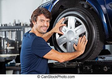 zmęczyć, zamocowywanie, mechanik, wóz, stop, szczęśliwy
