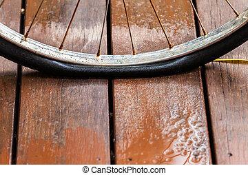 zmęczyć, zardzewiały, rower, płaski, koło