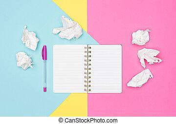zmačkaný, úřad, fotografie, noviny, čistý, block., nechráněný, pastel, concept., grafické pozadí., frustrace, podvádět, brainstorming, poznámkový blok, pojem, tvořivost, lavice, writer's, up, obrazotvornost, uzávěrka, opatřit vrškem prohlédnout