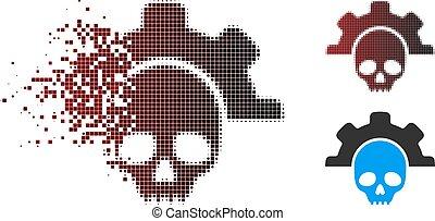 zmarły, halftone, złamany, narzędzia, pixel, ikona