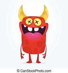 zmarły, potwór, pomylony, eyes., halloween, rysunek, ilustracja