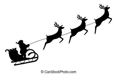 zmarszczenie, claus, święty, renifer, uprząż, sleigh