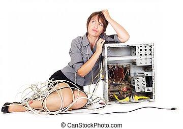 zmartwiony, kobieta z komputerem