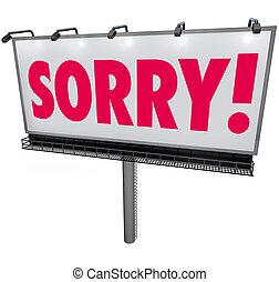zmartwiony, słowo, tablica ogłoszeń, przeproszenie, żal,...