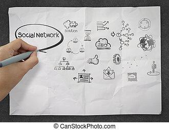 zmięty, rysunek, papier, towarzyski, ikona, media, ręka