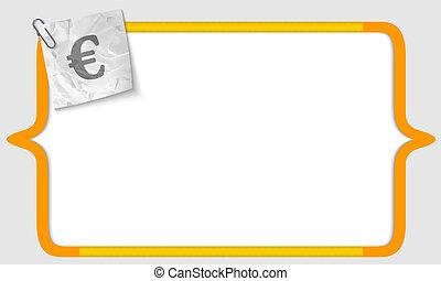 zmięty, wektor, konsole, znak, papier, euro