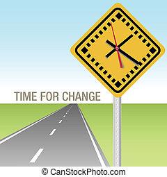 zmiana, czas, droga, na przodzie, znak