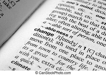 zmiana, -, słownik, definicja, od, handlowy, słowo