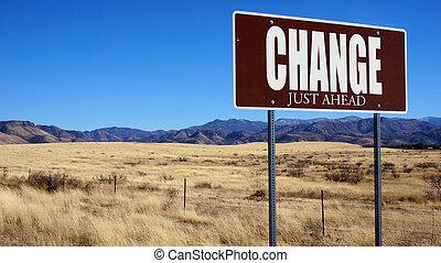 zmiana, właśnie, na przodzie, brązowy, droga znaczą