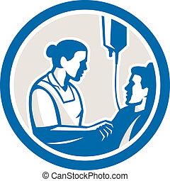zmierzając, pacjent, retro, chory, koło, pielęgnować