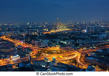 zmierzch, most, bangkok, tajlandia, 8, rama, szosa