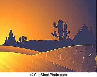 zmierzch, pustynia krajobraz
