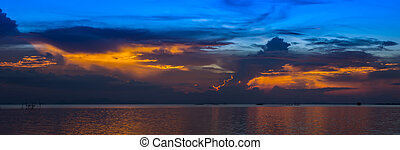 zmierzch, thailand., jezioro, niebo, un-focused