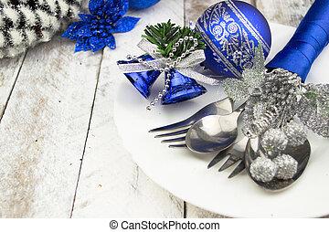 zmontowanie, boże narodzenie, stół, srebro