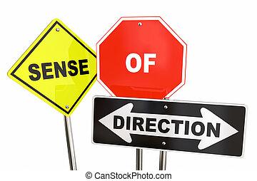 zmysł, od, kierunek, drogowe oznakowanie, kierownictwo, 3d, ilustracja