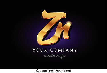 zn z n 3d gold golden alphabet letter metal logo icon design handwritten typography