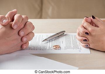 znacząc, dokumenty, żona, rozwód, porozumienie, premarital, albo, mąż