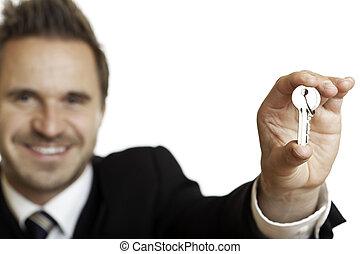 znacząc, handlowy, dom, po, kontrakt, klucz, overgives, człowiek