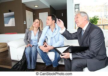 znacząc, prawdziwy-stan, para, przedstawiciel, kontrakt, dom, lokata