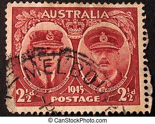 znaczek pocztowy, australijski, 1945