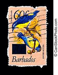 znaczek pocztowy, ptaszki, gałąź