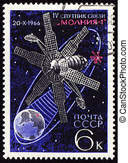 znaczek pocztowy, satelitarne zakomunikowanie, przestrzeń