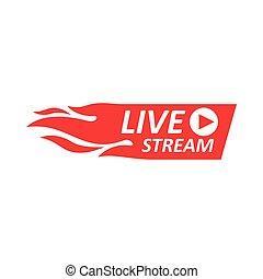 znak, żywy, logo., emblemat, potok