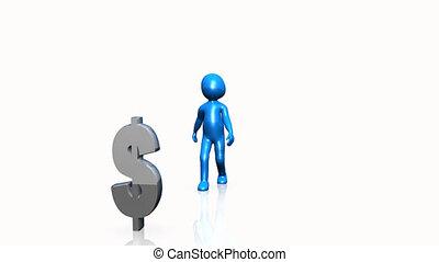 znak, błękitny, dolar, człowiek, pokaz, 3d