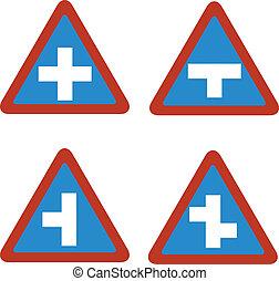 znak, błękitny, handel, triangl, połączenie
